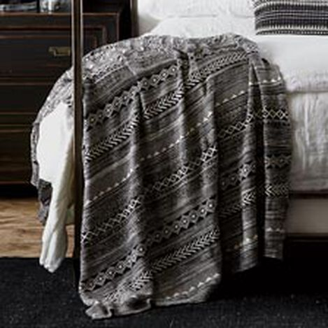 Black and White Graphic Knit Throw ,  , hover_image