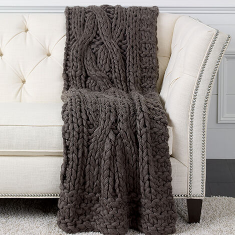 Cross Cable Knit Throw, Dark Brown ,  , large