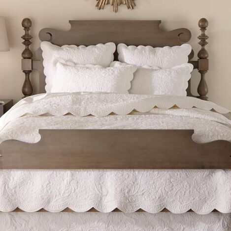 Dominique White Quilt and Shams ,  , large