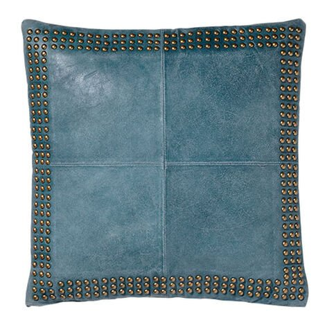 Teal Worn Leather Pillow ,  , large