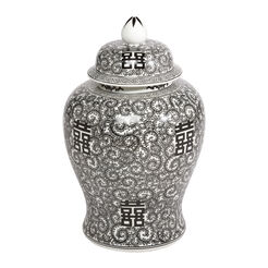 Black and White Temple Jar ,  , large