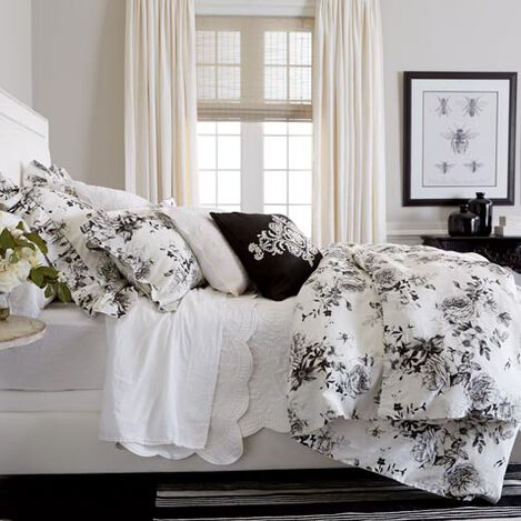 Ava Rose Linen Duvet Cover and Dominique White Quilt ,  , large