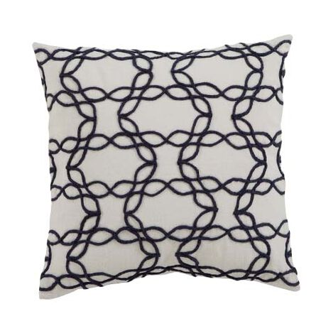 Wavy Jute Pillow, Ivory/Navy ,  , large