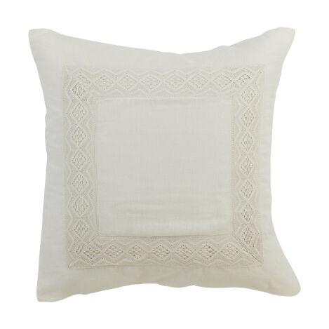 Housse décorative pour oreiller euro à dentelle pur lin ivoire ,  , large