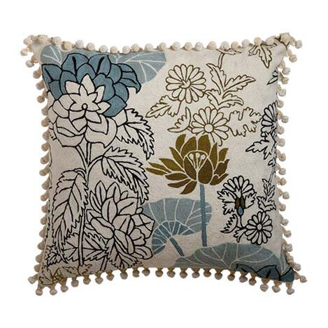 Crewel Embroidered Floral Outline Pillow ,  , large