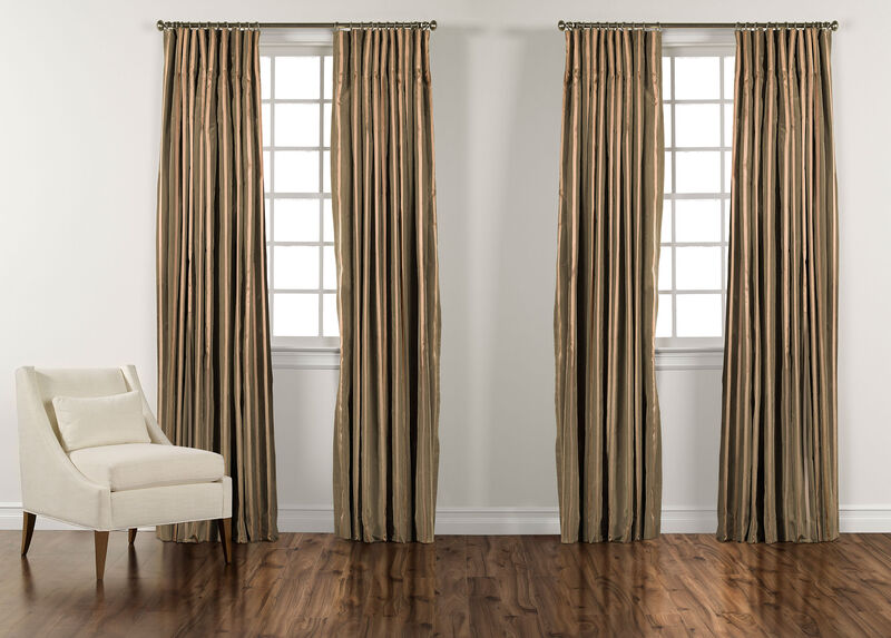 "100"" Moss Green and Gold Taffeta Stripe Inverted Pleat Panel ,  , large_gray"