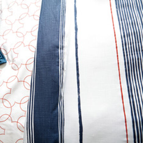 Mixed Stripe Duvet Cover and Sham, Midnight Blue ,  , hover_image