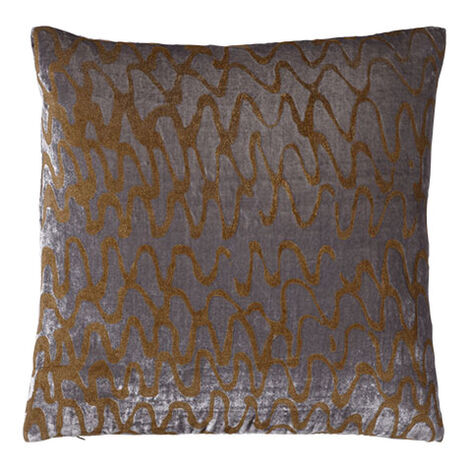 Ripple Pillow, Gray/Gold ,  , large