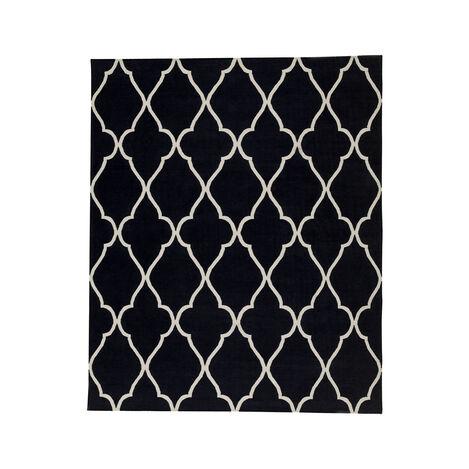 Fretwork Dhurrie Rug, Black ,  , large