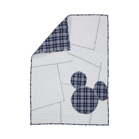 Ticking Stripe Mickey Toddler Quilt, Midnight ,  , large