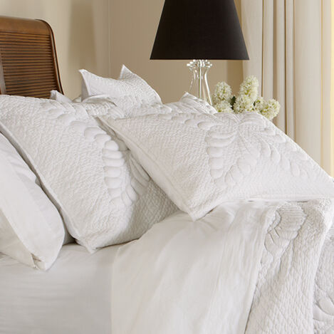 White Trapunto Quilted Sham ,  , large