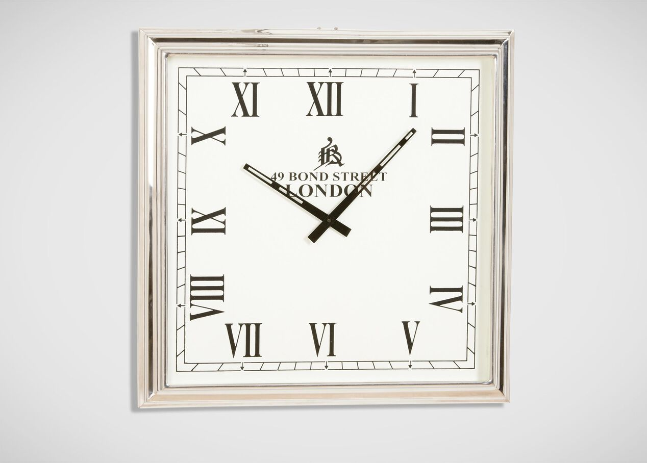nickel square wall clock  clocks - nickel square wall clock   largegray