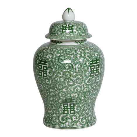 """18"""" Green and White Temple Jar ,  , large"""