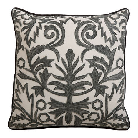 Crewel Embroidered Fern Trellis Pillow ,  , large