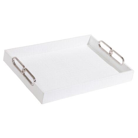Rectangular White Leather Tray ,  , large