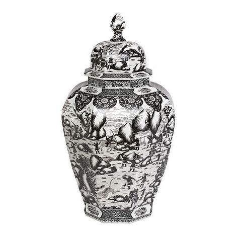 Extra Large Black and White Ginger Jar ,  , large
