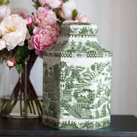 Green and White Hexagon Jar ,  , hover_image
