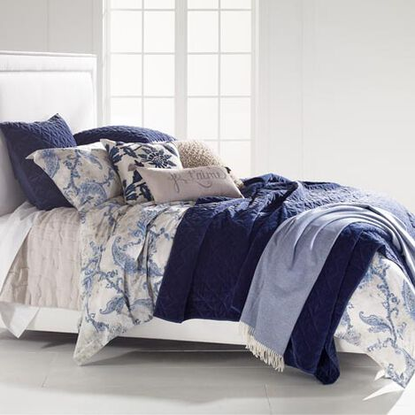 Delmore Duvet Cover, Linen Pick-Stitch Quilt and Gresham Coverlet ,  , large