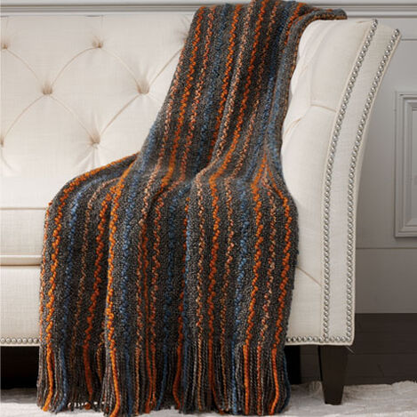 Squiggle Knit Throw, Charcoal ,  , large
