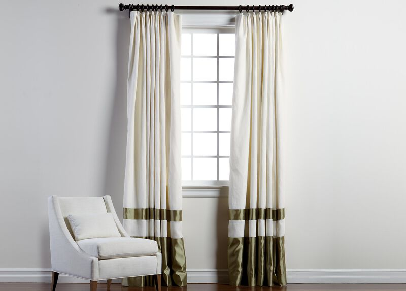 """Ivory Sayre Linen 100"""" Pinch Pleat Panel with Celadon Border ,  , large_gray"""