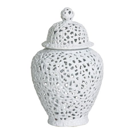 Small White Pierced Temple Jar ,  , large