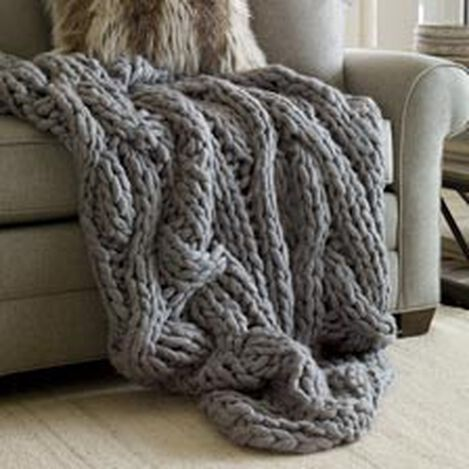 Cross Cable Knit Throw, Gray ,  , hover_image