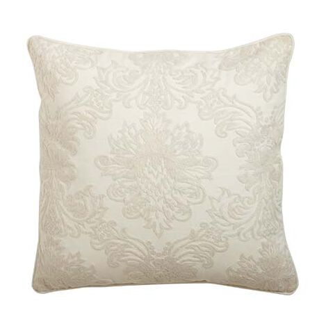 Crewel Embroidered Medallion Pillow, Ivory ,  , large