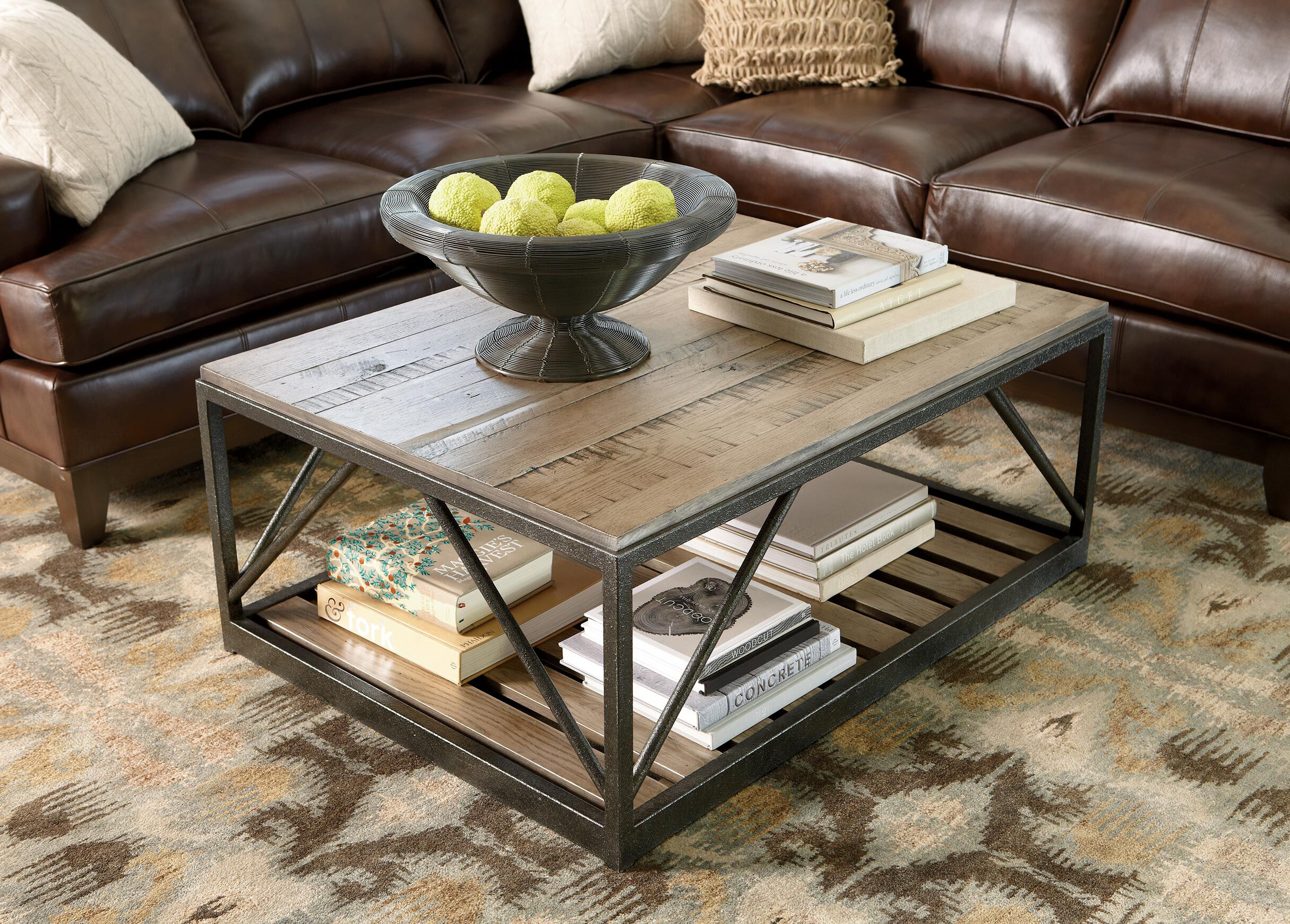 Beam Metal Base Coffee Table , , Alt