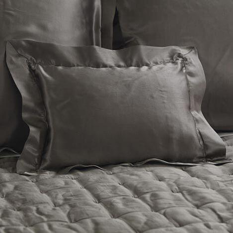 Coussin boudoir en soie grise Damaris ,  , large