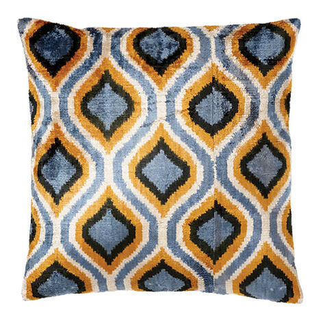 Silk Velvet Pillow, Blue/Gold  ,  , large