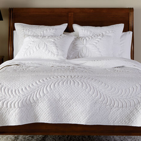 White Trapunto Quilt and Shams ,  , large