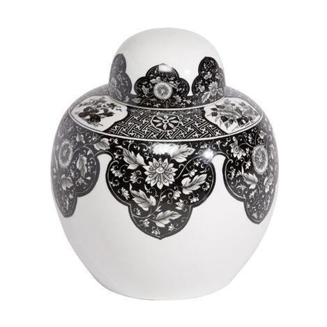 Black and White Round Lidded Jar ,  , large
