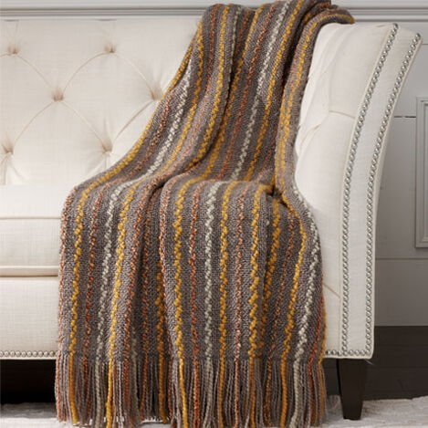 Squiggle Knit Throw, Gray ,  , large