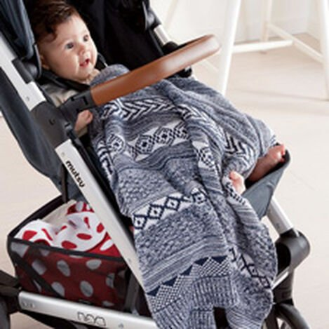 Sweater Stitch Knit Stroller Blanket, Midnight ,  , hover_image