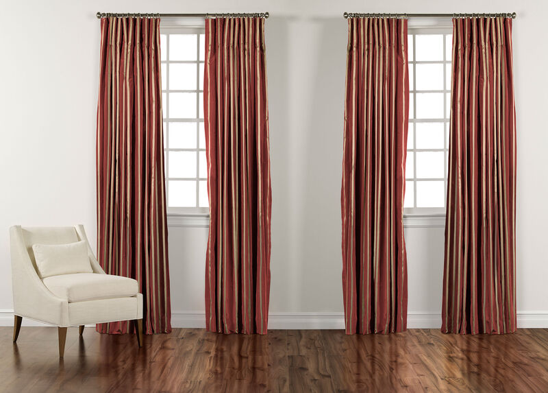 """100"""" Chinois Red and Gold Taffeta Stripe Inverted Pleat Panel ,  , large_gray"""