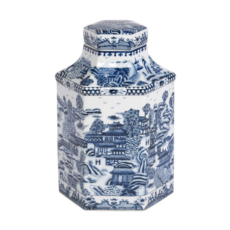 Blue and White Hexagon Jar ,  , large
