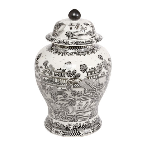 Large Black and White Ginger Jar ,  , large