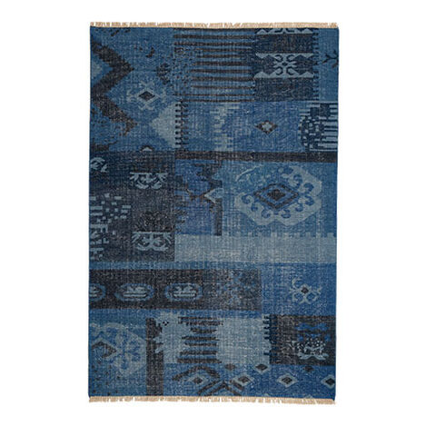 Patchwork Rug, Blue ,  , large