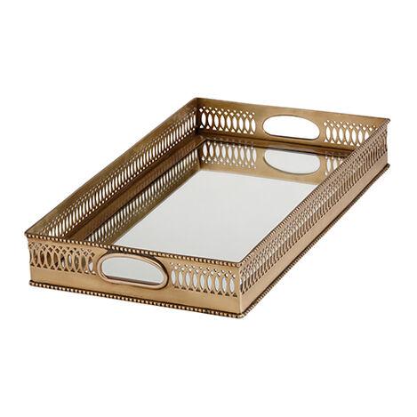 Rectangular Mirrored Brass Tray ,  , large