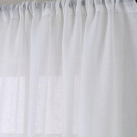 White Linen Sheer Rod-Pocket Panel ,  , large