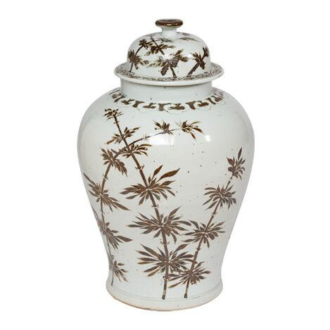Brown Bamboo Temple Jar ,  , large