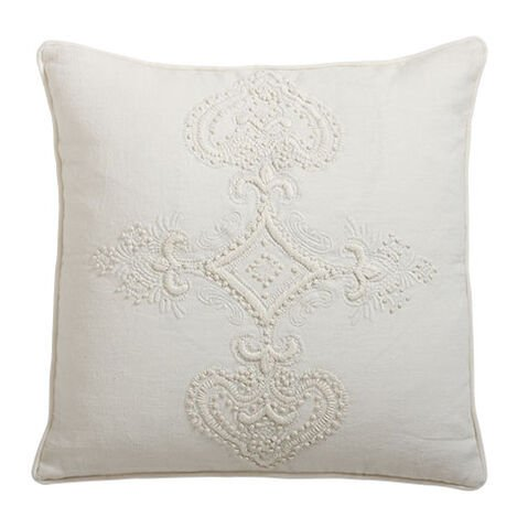 Embroidered Scroll on Ivory Linen Pillow ,  , large
