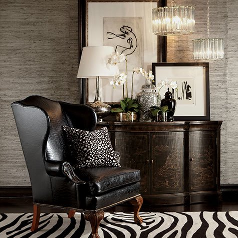 giles leather chair and Vivianne Serpentine Console