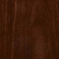 Hyde Park (590): Rich warm dark walnut-colored stain, lightly distressed, burnished edges; some pieces include ash burl drawer fronts with a lighter finish.