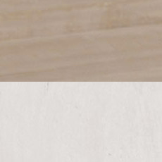 Rough-sawn Dakota / Milk White (209/635): Transparent gray stain, rough sawn, hand-distressed, low sheen./White paint with gray glaze, highly distressed, worn edges, satin sheen.
