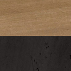Rye / Charcoal (226/612): Cool medium brown with gray tint, satin sheen./ Black paint with amber glaze, transparent spatter stain, moderately to heavily distressed.