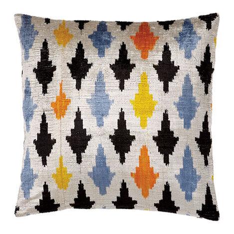 Silk Velvet Pillow, Taupe/Multi ,  , large
