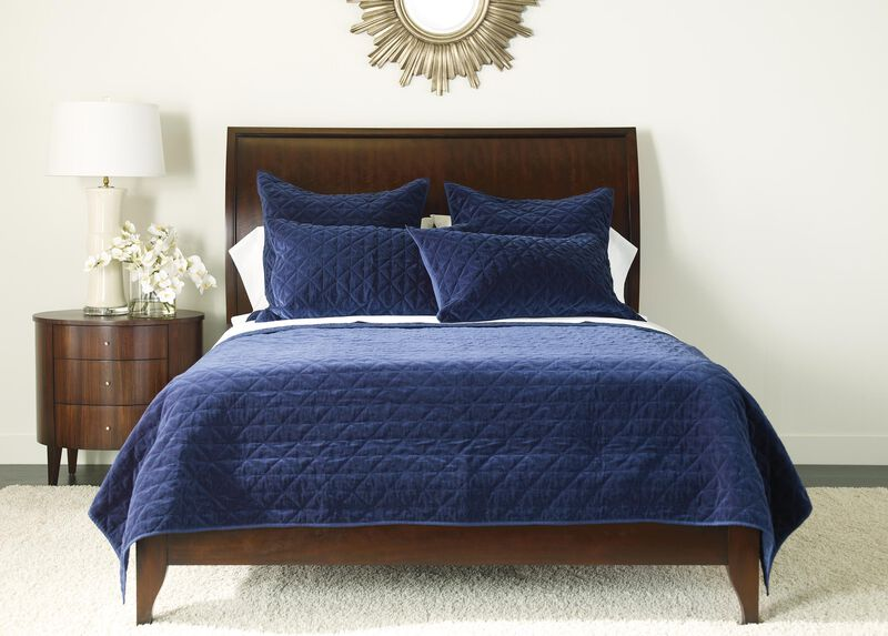 Gresham Navy Velvet Coverlet and Shams ,  , large_gray