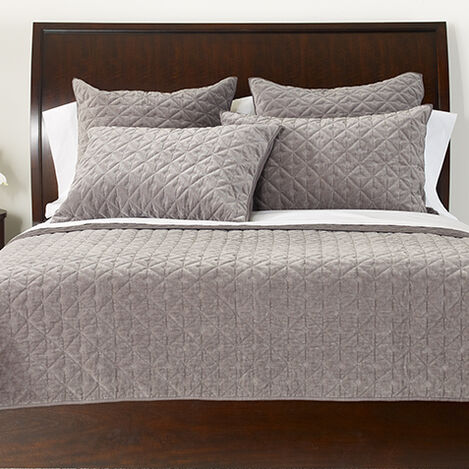 Gresham Graphite Velvet Coverlet and Shams ,  , large