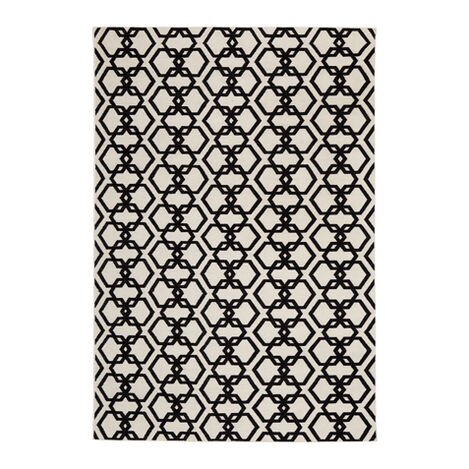 Interlock Rug, Ivory/Black ,  , large